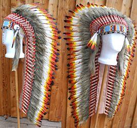 Grosse lange Federhaube Indianer Kopfschmuck