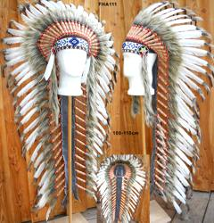 Indianer Federhaube lang 105cm