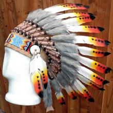 Indianer Federhaube mit Federspitzen schwarz-rot-gelb