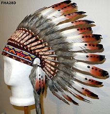 Indianer Federhaube mit Federspitzen rot-weiss