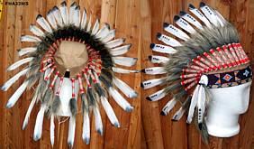 Indianer Kopfschmuck Haube mit 34 Federn schwarz-weiss