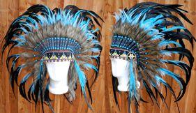 Indianerkopfschmuck mit langen Federn türkis und schwarz