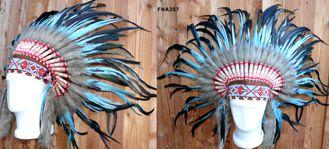 Indianerkopfschmuck braun Federn türkis schwarz