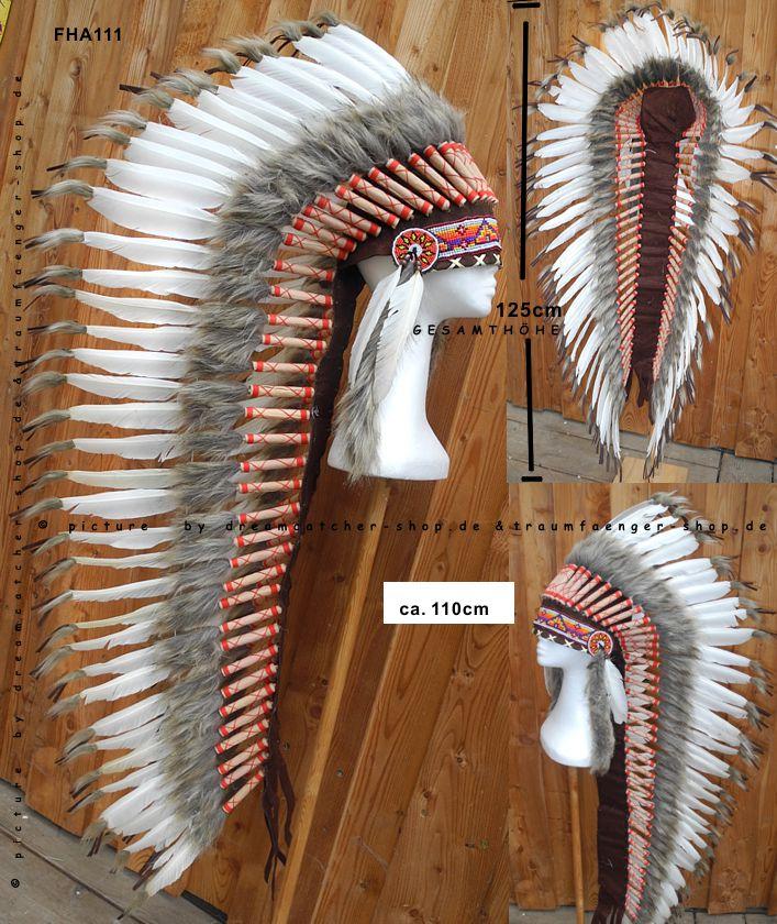 Indianer Federhaube extra lang 125cm